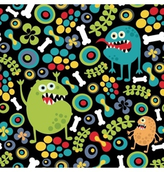 Cute monsters seamless texture vector