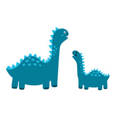 Cute mother and baby dinosaurs print funny vector