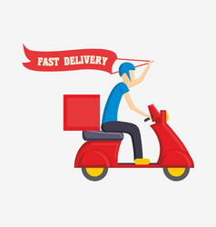 Delivery man courier worker riding scooter vector
