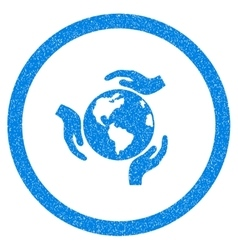 Earth Protection Rounded Icon Rubber Stamp vector