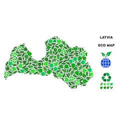 ecology green composition latvia map vector image