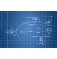 Engineering drawing of helicopter vector image