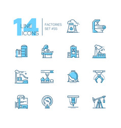 Factories - modern thin line design icons set vector