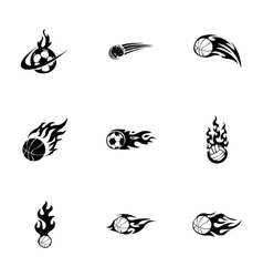 fire sport balls icons set vector image