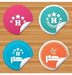 Five stars hotel icons Travel rest place vector image