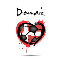 flag of denmark in the form of a heart vector image