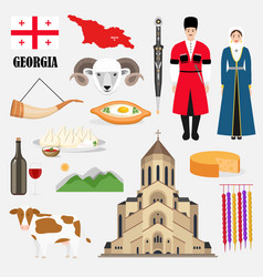georgian traditional symbols and sights set vector image