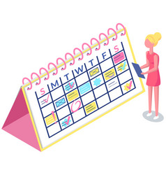 Girl with clipboard is looking at schedule vector