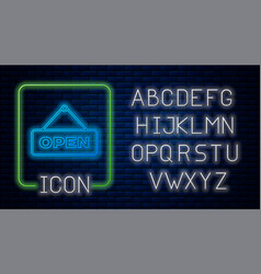 Glowing neon hanging sign with text open door icon vector