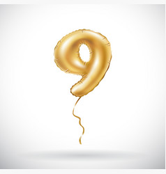golden number 9 nine metallic balloon party vector image