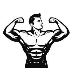 Gym sport bodybuilding logo or label strong man vector