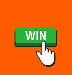 hand mouse cursor clicks the win button vector image