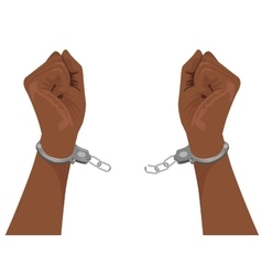Hands of african american man breaking handcuffs vector