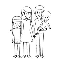 happy family standing together parents and childs vector image