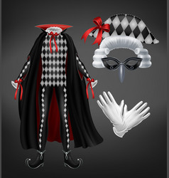 harlequin costume with cape starched wig and mask vector image