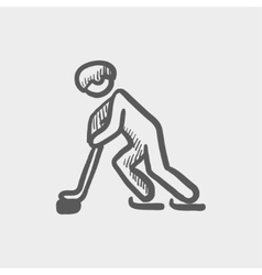 Hockey player pushing the puck sketch icon vector