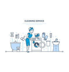housewife in bathroom engaged in cleaning service vector image