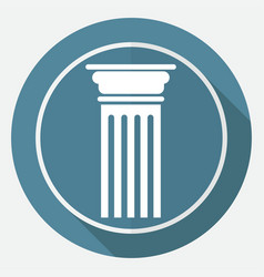 icon antique column on white circle with a long vector image