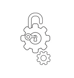 Icon concept gears with padlock keyhole and vector