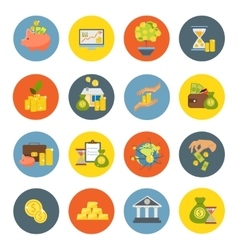 Investment Flat Icon Set vector image