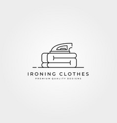 Ironing clothes icon logo line art minimal design vector