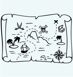 Island treasure map vector