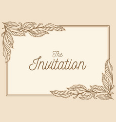 Leaf invitation card vector