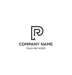 letter p and r logo design concept vector image