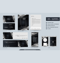 Luxury black and silver stationery mock up vector
