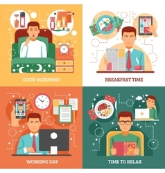 Man daily routine design concept vector