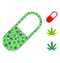 medication granule collage of marijuana vector image