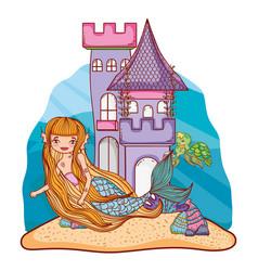 mermaid and undersea castle vector image