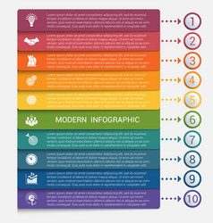 Modern strips infographics 10 options banner vector