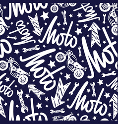motorcycle seamless pattern with lettering vector image