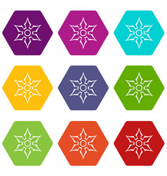 Ninja shuriken star weapon icon set color vector