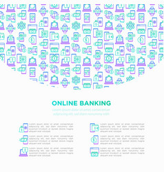 online banking concept with thin line icons vector image