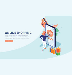 Online shopping concept with character sale and vector