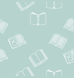 Open books outline seamless pattern vector