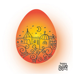 orange easter egg with image town vector image