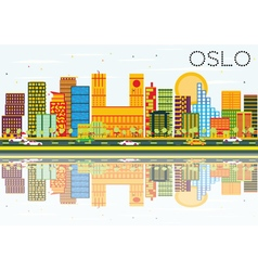 Oslo Skyline with Color Buildings Blue Sky vector image