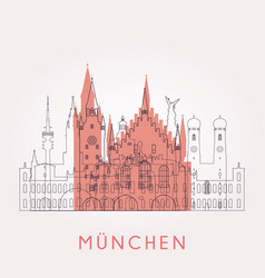 Outline munich vintage skyline vector