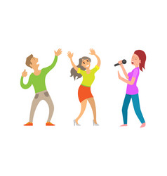 partying people having fun lady with microphone vector image