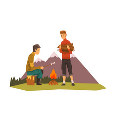 people camping tourists near bonfire man vector image