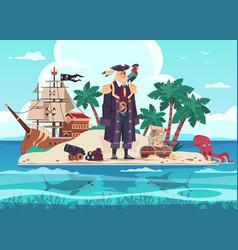 pirate island cartoon kids adventure vector image