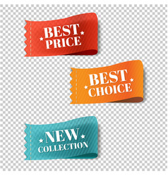 price tags set transparent background vector image