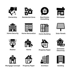 real estate glyph icons 9 vector image