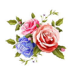 realistic rose bouquet leaves pattern vector image