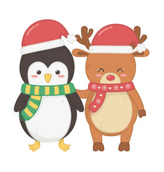 reindeer and penguin with hats decoration merry vector image