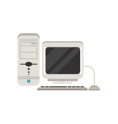 retro personal computer on a vector image