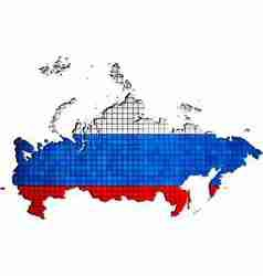Russia map with flag inside vector image